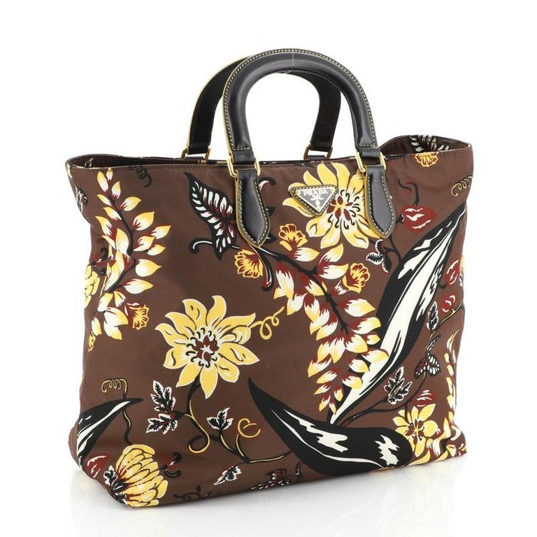 Prada Convertible Tote Printed Tessuto Large In Good Condition For Sale In New York, NY