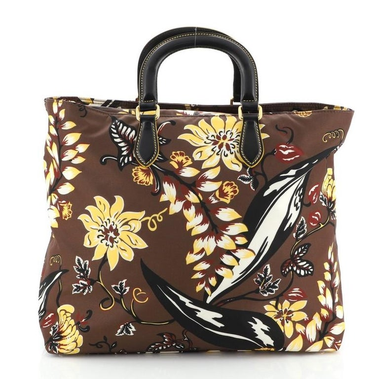 Prada Convertible Tote Printed Tessuto Large In Good Condition In New York, NY