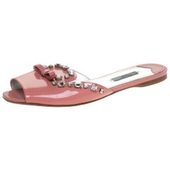 Prada Coral Pink Patent Leather Crystal And Bow Embellished Flat Slides Size 40