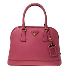 Prada Coral Pink Saffiano Leather Open Promenade Satchel