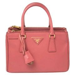 Prada Coral Pink Saffiano Lux Leather Mini Galleria Double Zip Tote