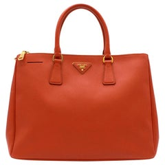 Prada Coral Saffiano Leather Lux Mini Tote