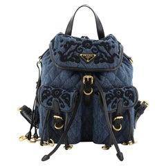 Prada Corsaire Backpack Embroidered Quilted Denim Medium