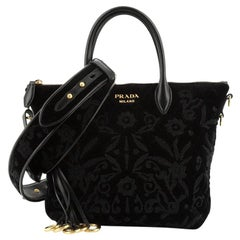 Prada  Corsaire Convertible Zip Tote Embroidered Quilted Velvet Small
