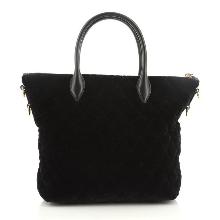 Prada Corsaire Convertible Zip Tote Quilted Velvet Small In Good Condition For Sale In New York, NY
