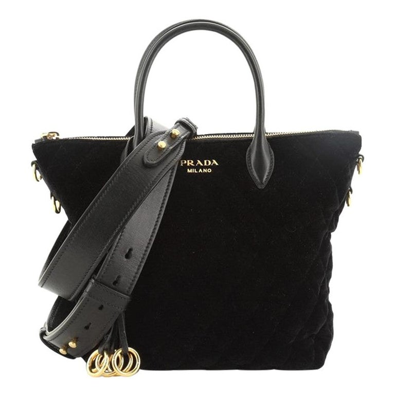 Prada Corsaire Convertible Zip Tote Quilted Velvet Small For Sale