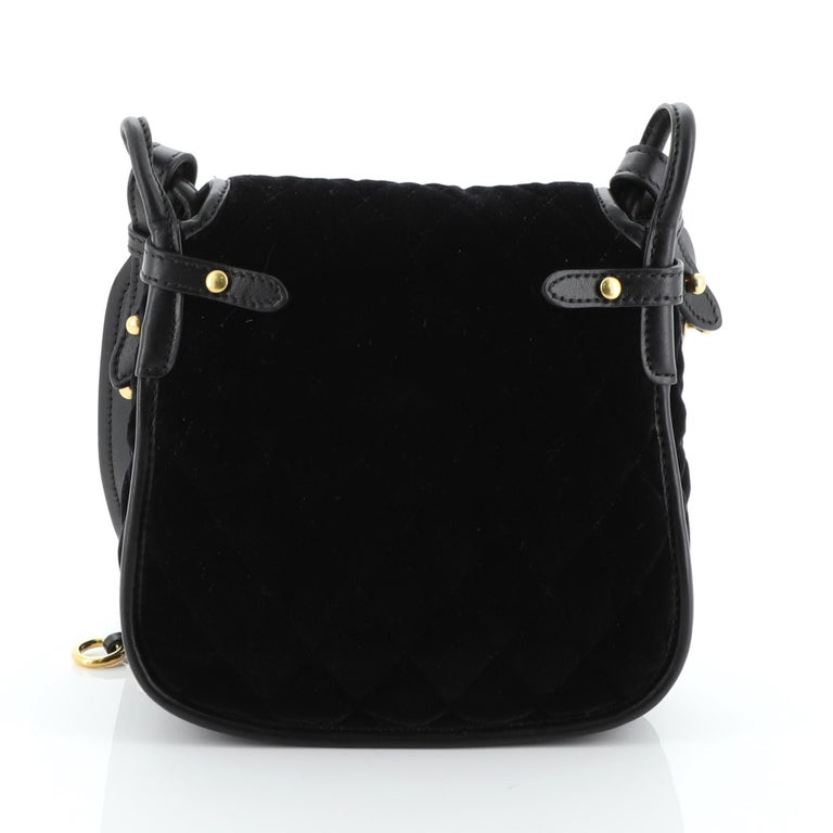 Black Prada Corsaire Shoulder Bag Quilted Velvet with Calfskin Small