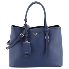 Prada Covered Strap Cuir Double Tote Saffiano Leather Medium,