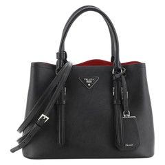 Prada Covered Strap Cuir Double Tote Saffiano Leather Medium