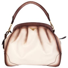 PRADA cream & burnished brown Cinghiale leather Docotors Shoulder Bag