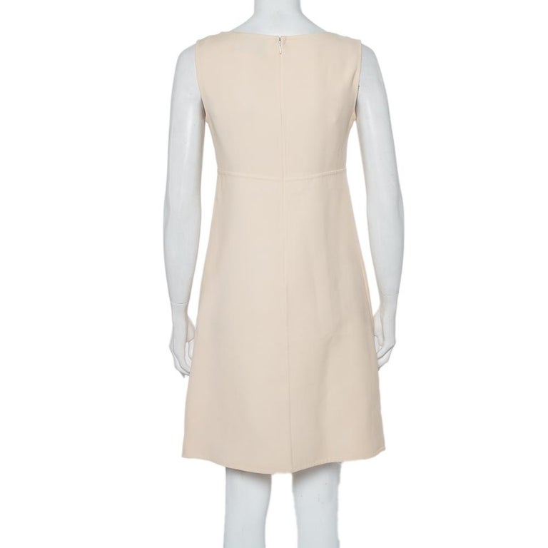 Beige Prada Cream Cotton Sleeveless Midi Dress M