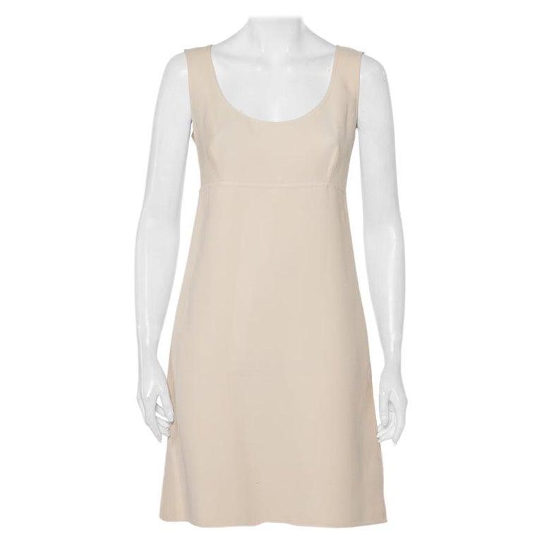 Prada Cream Cotton Sleeveless Midi Dress M