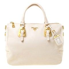 Prada Cream Leather Bowler Bag