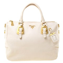 Prada Cream Leather Bowler Bag