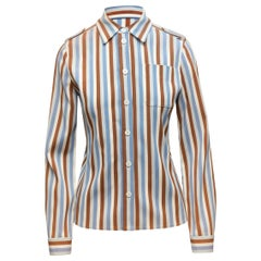 Prada Cream & Multicolor Striped Button-Up Shirt