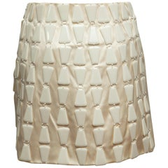 Prada Cream Silk Embellished Mini Skirt
