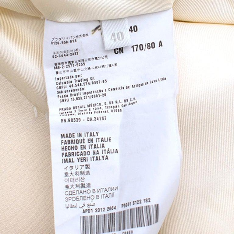 Prada Cream Sleeveless Wool Gilet SIZE 40 IT For Sale 4