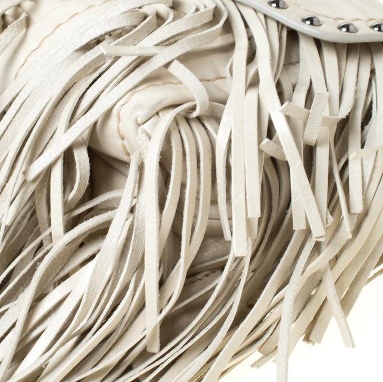 Prada Cream Vitello Shine Leather Fringe Shoulder Bag For Sale 5