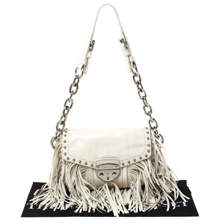 Prada Cream Vitello Shine Leather Fringe Shoulder Bag For Sale 7
