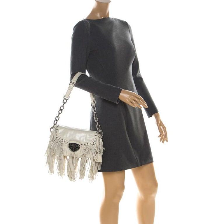 Beige Prada Cream Vitello Shine Leather Fringe Shoulder Bag For Sale