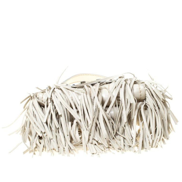 Women's Prada Cream Vitello Shine Leather Fringe Shoulder Bag For Sale