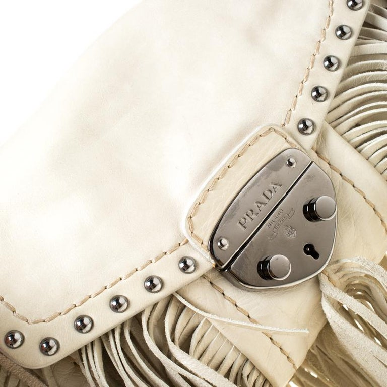 Prada Cream Vitello Shine Leather Fringe Shoulder Bag For Sale 1