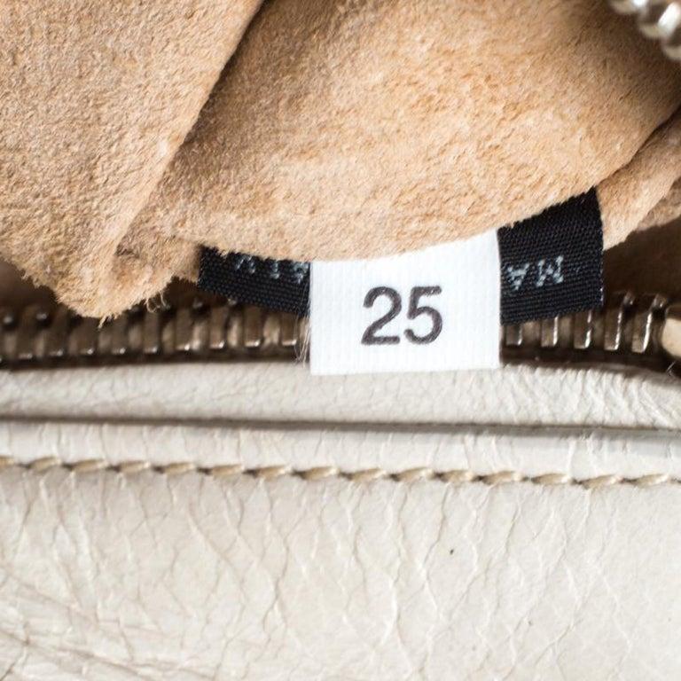 Prada Cream Vitello Shine Leather Fringe Shoulder Bag For Sale 2
