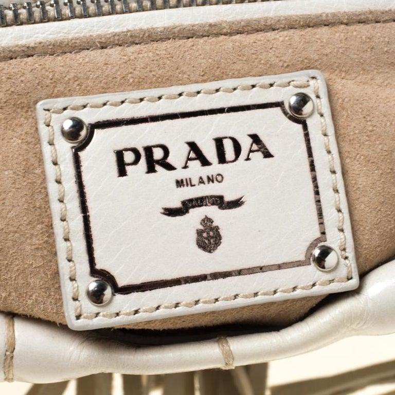 Prada Cream Vitello Shine Leather Fringe Shoulder Bag For Sale 3