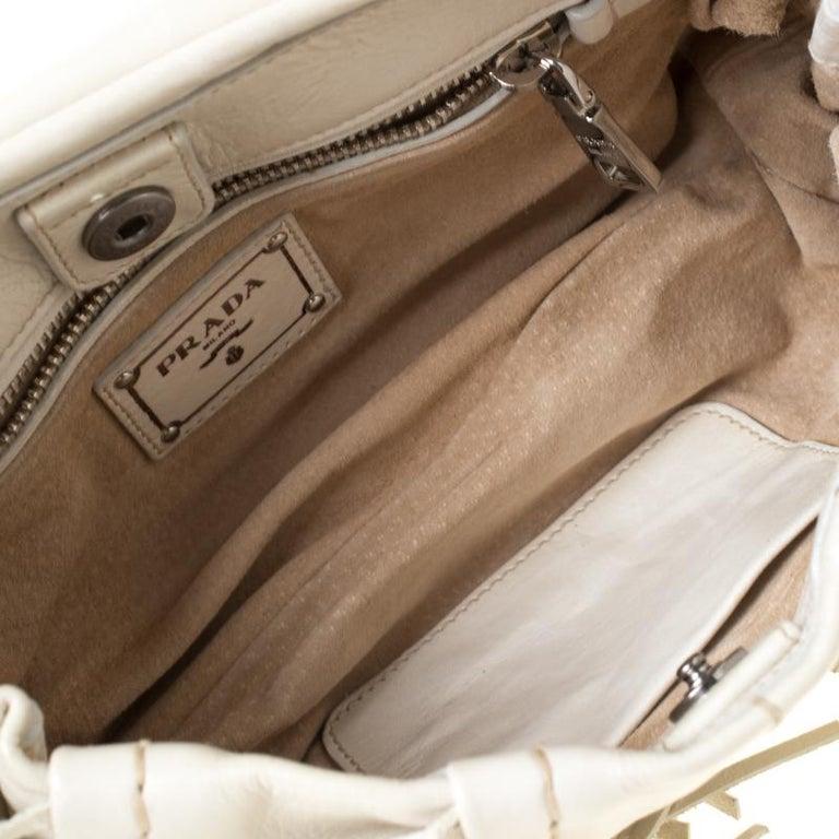 Prada Cream Vitello Shine Leather Fringe Shoulder Bag For Sale 4