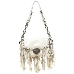 Prada Cream Vitello Shine Leather Fringe Shoulder Bag