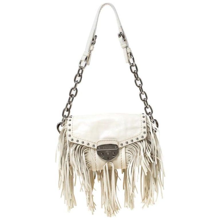 Prada Cream Vitello Shine Leather Fringe Shoulder Bag For Sale