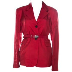 Prada Crimson Red Silk Belted Tailored Jacket L