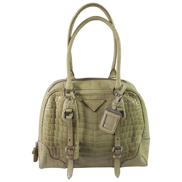 a2832be32baedc Prada Crocodile Leather Beige Bowling Bag For Sale at 1stdibs