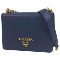 PRADA cross body chain Saffiano Womens shoulder bag 1BD133 blue x gold hardware