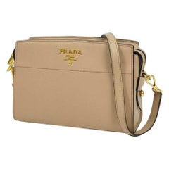 PRADA cross body chain Saffiano Womens shoulder bag 1BH104 pink beige x gold har