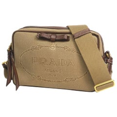 PRADA cross body ribbon Womens shoulder bag 1BH089 khaki x brown