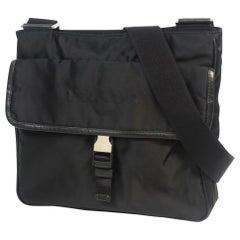 PRADA cross body unisex shoulder bag black x silver hardware