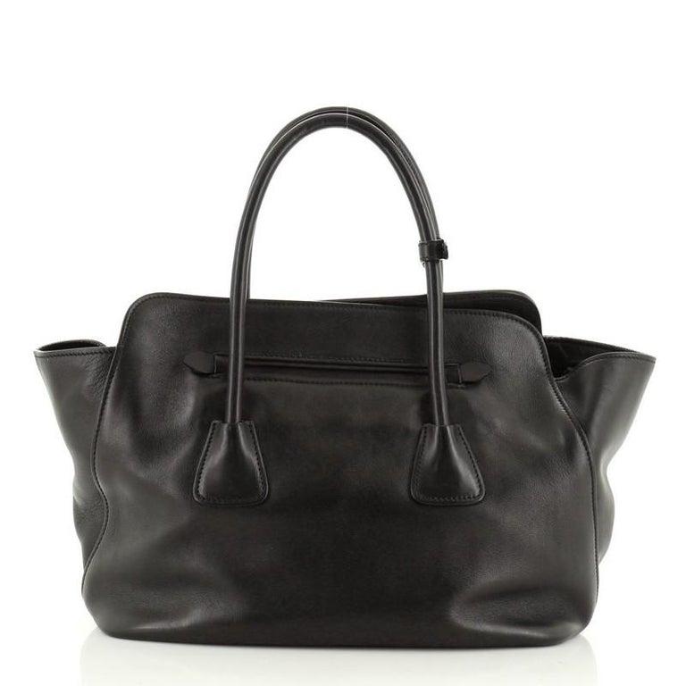 Black Prada Cuir Convertible Shopping Tote Soft Calfskin Large