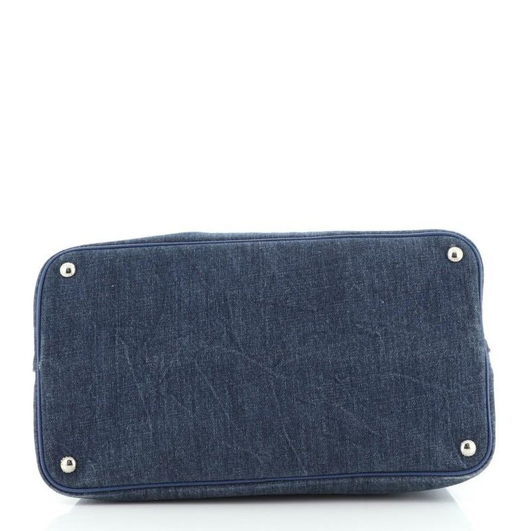 Women's or Men's Prada Cuir Double Tote Denim with Leather Medium For Sale