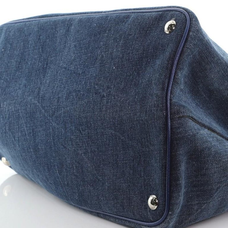 Prada Cuir Double Tote Denim with Leather Medium For Sale 2