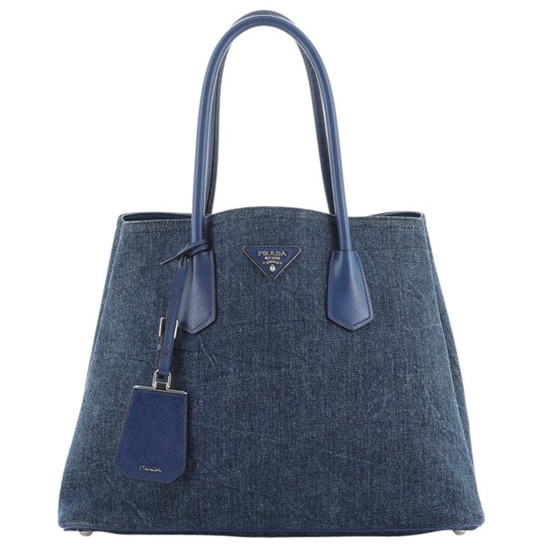 Prada Cuir Double Tote Denim with Leather Medium For Sale