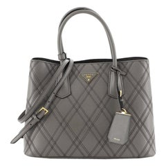 Prada Cuir Double Tote Quilted Leather Medium