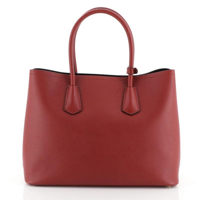 Prada Cuir Double Tote Saffiano Leather Large In Good Condition For Sale In New York, NY
