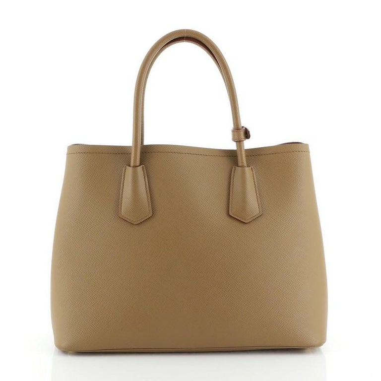 Brown Prada Cuir Double Tote Saffiano Leather Medium