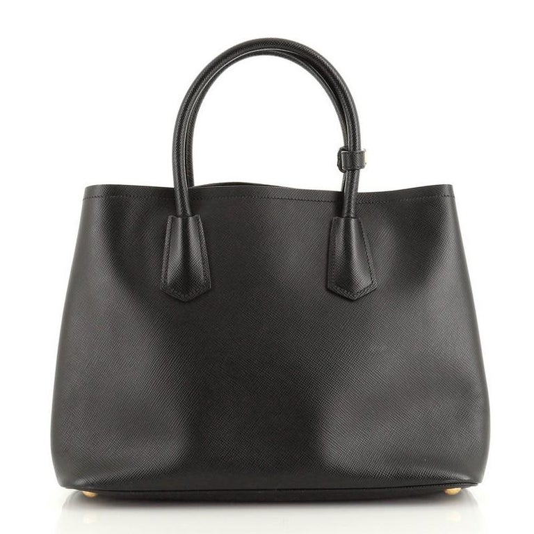 Prada Cuir Double Tote Saffiano Leather Medium In Fair Condition For Sale In New York, NY