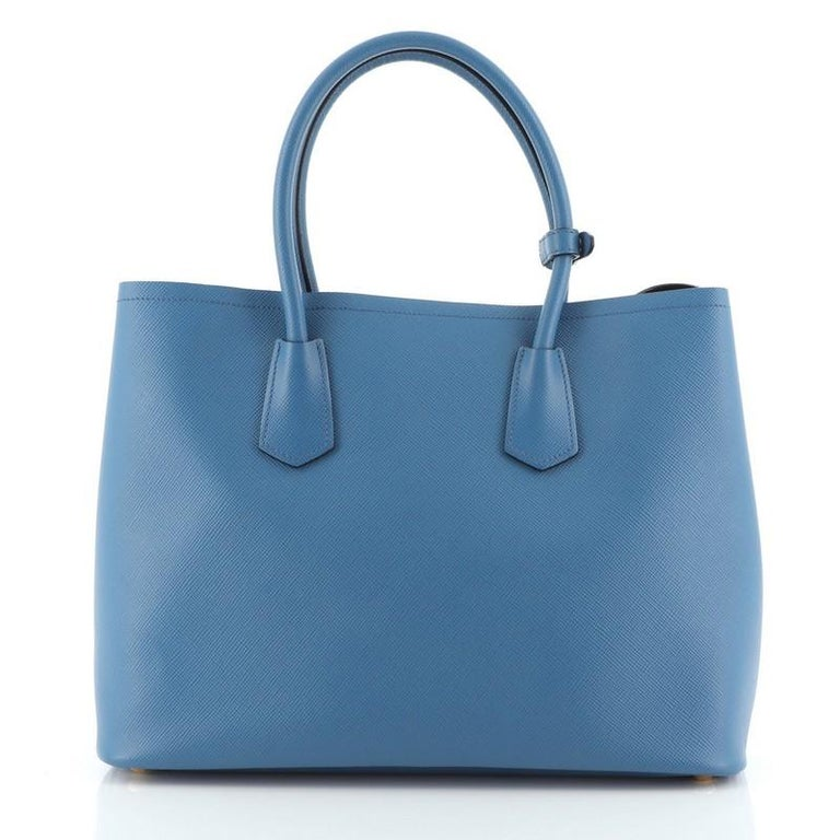 Prada Cuir Double Tote Saffiano Leather Medium In Good Condition In New York, NY