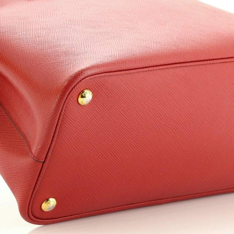 Prada Cuir Double Tote Saffiano Leather Medium For Sale 2