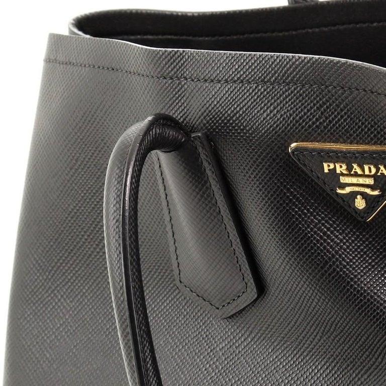 Prada Cuir Double Tote Saffiano Leather Medium For Sale 3