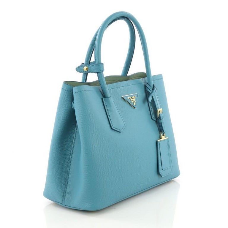57290f23ddc7 Blue Prada Cuir Double Tote Saffiano Leather Small For Sale