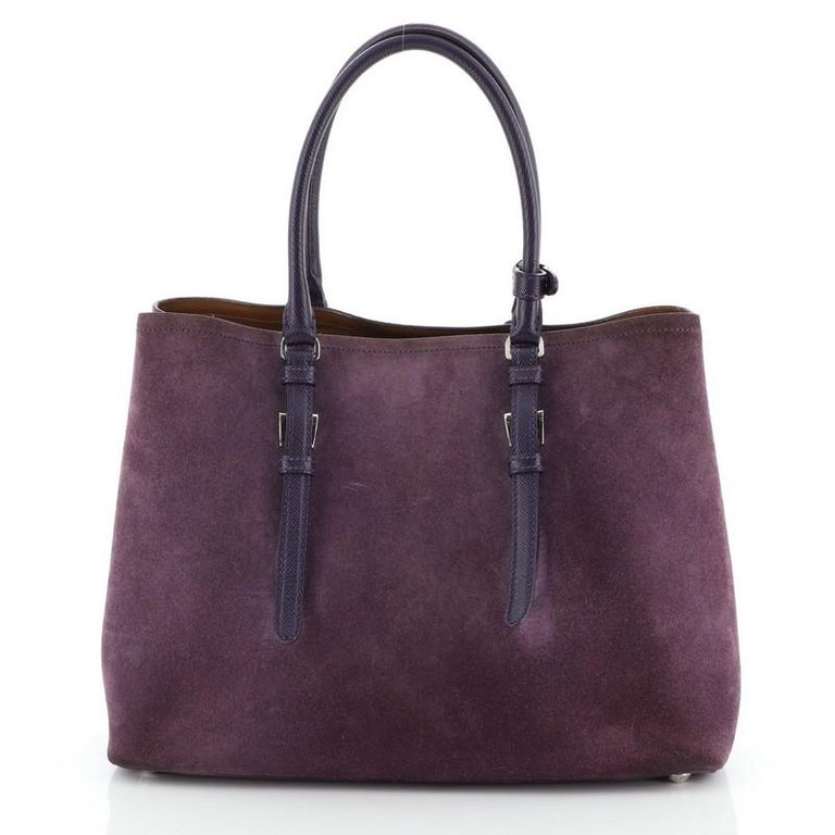 Prada Cuir Double Tote Suede Medium In Good Condition For Sale In New York, NY